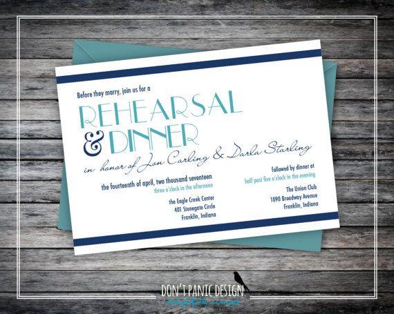Printable Rehearsal Dinner Invitation - Modern Art Deco Blue and Navy Blue - Custom Colors