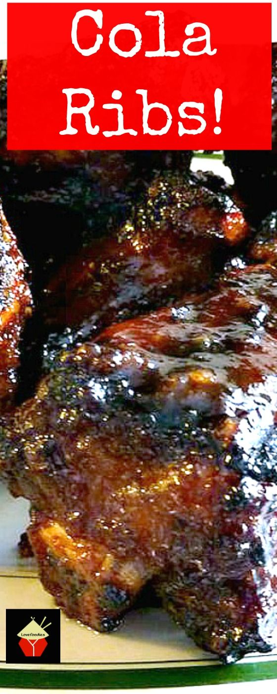 Oh these are good! Cola Ribs, always so popular with a crowd! Use beef or pork ribs, and grill or oven, you choose. A very nice and easy recipe with great flavors. Serve as appetizer, party food, main meal.. you choose! | Lovefoodies.com