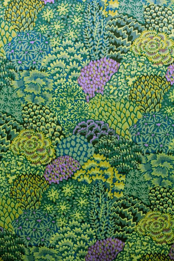 Kaffe Fassett ORIENTAL TREES Green - Cotton Quilt Fabric - by the Yard