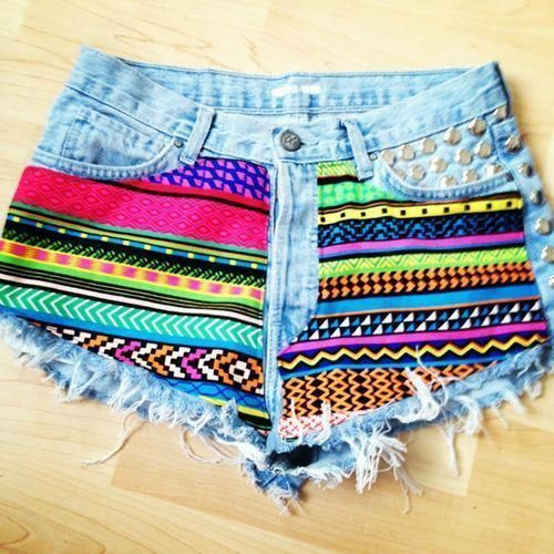 Hipster Tribal Jean Shorts