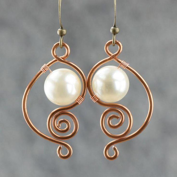 Copper wire work earrings