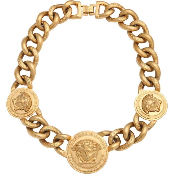 Pre-owned Versace 3 Medusa Gold Chain Necklace ($1,535) ❤ liked on Polyvore featuring jewelry, necklaces, versace, accessories, chain necklaces, preowned jewelry, yellow gold jewelry, versace jewelry and pre owned jewelry