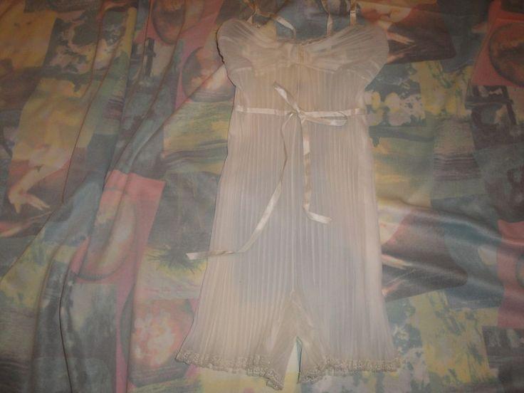Vintage Vanity Fair Teddy Lingerie Acordian Pleat White Unique Style Size 32 #VanityFair