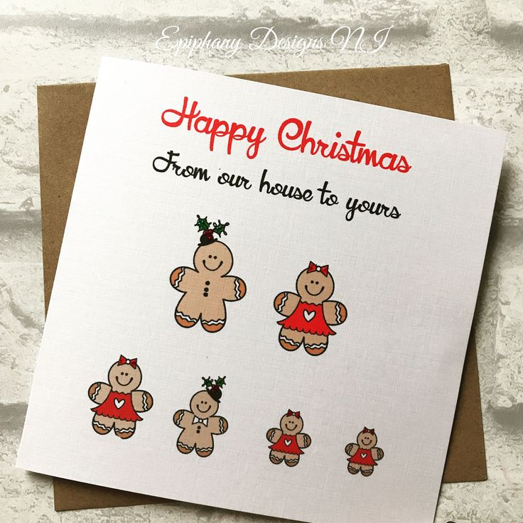 Personalised Christmas card - Gingerbread family representing your family members By Epiphany Designs NI