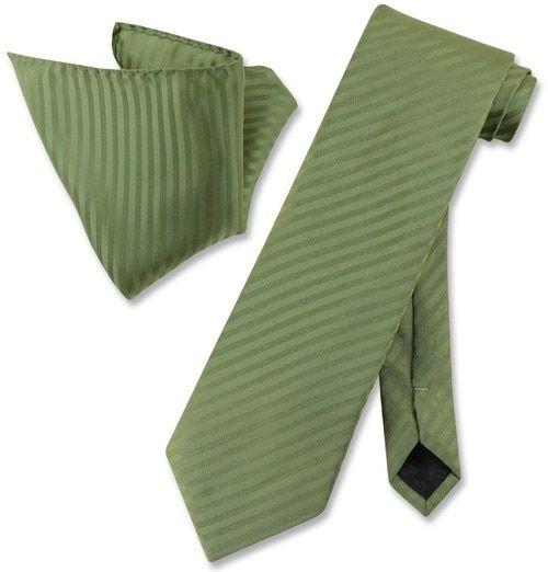 cd55f938f635e Vesuvio Napoli Olive Green Striped NeckTie & Handkerchief Neck Tie Set