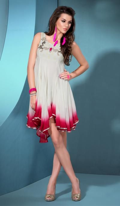 G3 fashions Off white georgette designer kurti  Product Code: G3-LKT300746 Price: INR RS 3893