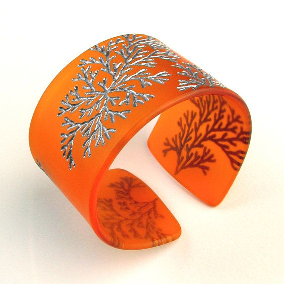 Tangerine Cuff Bracelet Plexiglass Branches Tangerine and Pewter by Lynn Lunger/UnaOdd