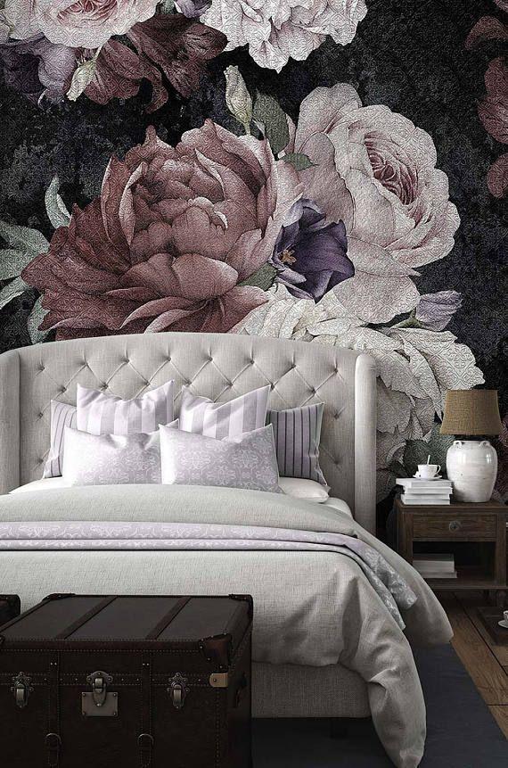 Floral Wallpaper, Flowers of a black background, Temporary Wallpaper, Loft design,Removable wallpaper, Mural Wallpaper – Ninaabban