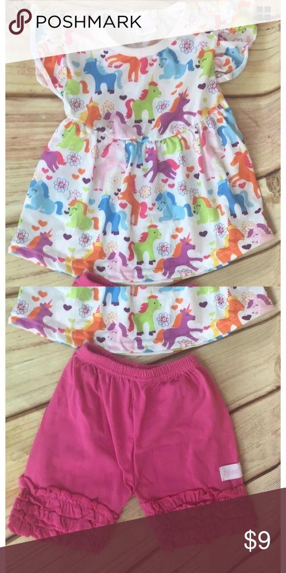 Unicorn Short Set Short sleeve shirt with unicorns and pink shorts Sweet Girls Matching Sets