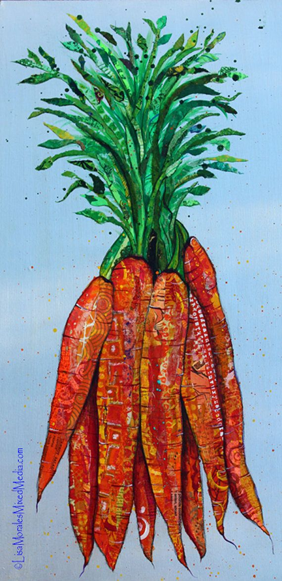 Carrots - Mixed Media Collage Original - Take a close look. These carrots were created with paper. Painting and texturing the paper that I use to create collage is just as much fun as ripping it into little pieces and gluing them down individually to create a work of art. I LOVE paper of all kinds and try not to use the same paper twice when I work. This piece includes a recipe for carrot salad hiding in plain sight.    Size: 12 X 24 on a birch wood panel with finished sides. This piece is…