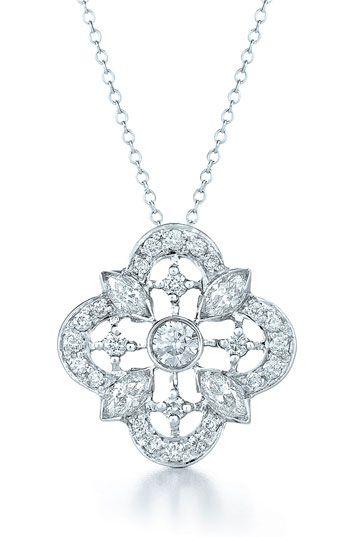 Kwiat 'Clover' Diamond & White Gold Pendant Necklace