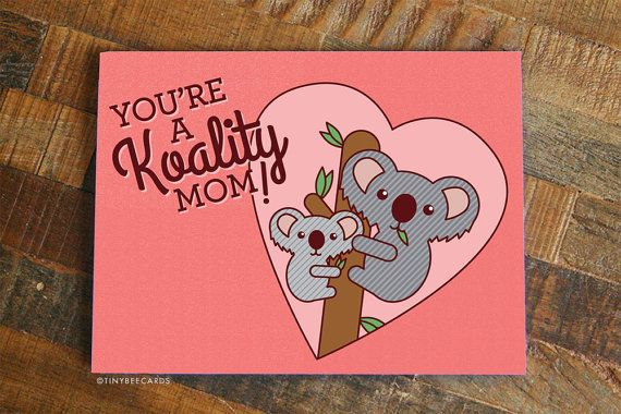 Funny Mother's Day Card Koality Mom  Card for Mom by TinyBeeCards