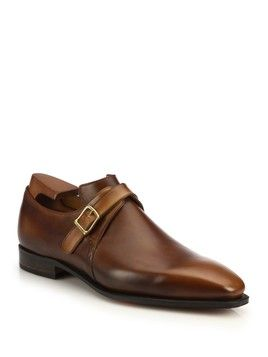 Brown Groom/Groomsman Shoes - Corthay Arca Leather Monk-Strap Dress Shoes