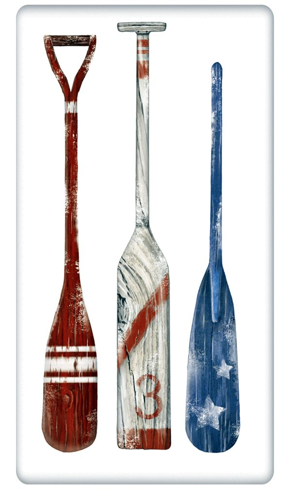 """Boat Paddles and Oars 100% Cotton Flour Sack Dish Towel Tea Towel - 30"""" x 30"""" by Designer Mary Lake Thompson"""