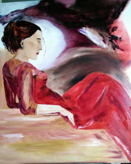 Lady in red / by An Vreeburg Oil / canvas 90 X 90 cm.