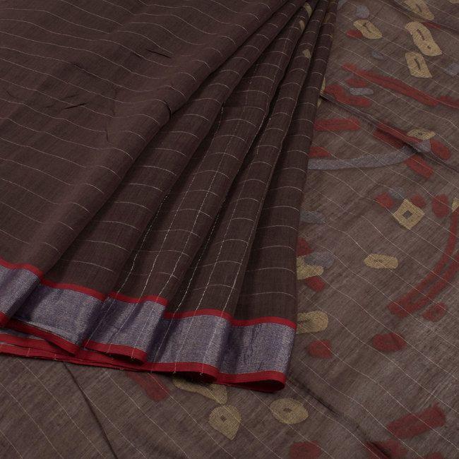 Buy online Handwoven Brown Khadi Jamdani Silk Saree With Checks Design 10012358