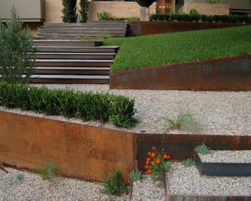 Modern Metal Garden Patio Stairs Decorating Ideas