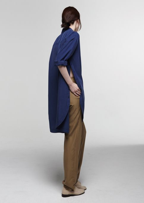: Colors Combos, Revolt Pinterest, Building Blocks, Colors Combinations, Blue Shirts, Long Shirts, Camels Pants, Side Slit, Style Fashion