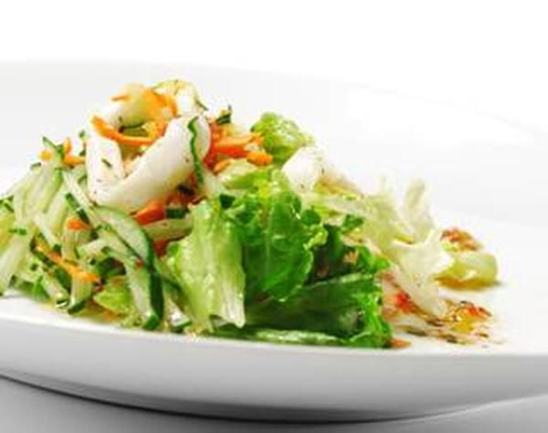 Salad with squid, egg and cheese