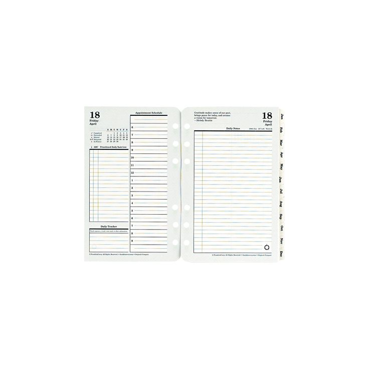 FranklinCovey Original Dated Daily Planner Refill January-December 4 1/4 x 6 3/4 2018, White/Green