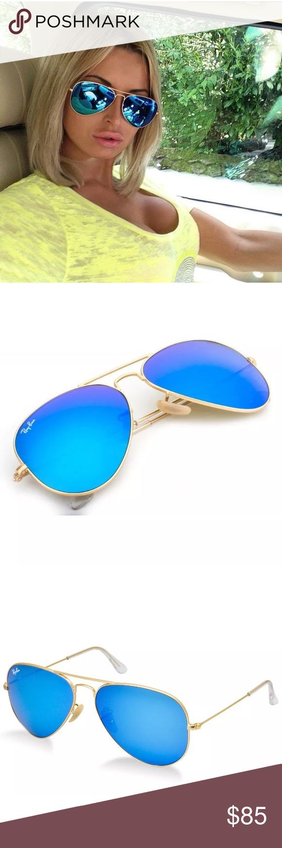 100%AUTHENTIC ray-ban aviator style blue lens Model code: Rb3025 112/17 58-14  Frame material: Metal Frame color: Matte Gold Lenses: Blue Mirror Shape: Aviator Size lens-bridge: 58-14 Temple Length: 135mm Technology: Mirror MADE IN ITALY FULL PACKAGING FROM MANUFACTURER. Ray-Ban Accessories Sunglasses