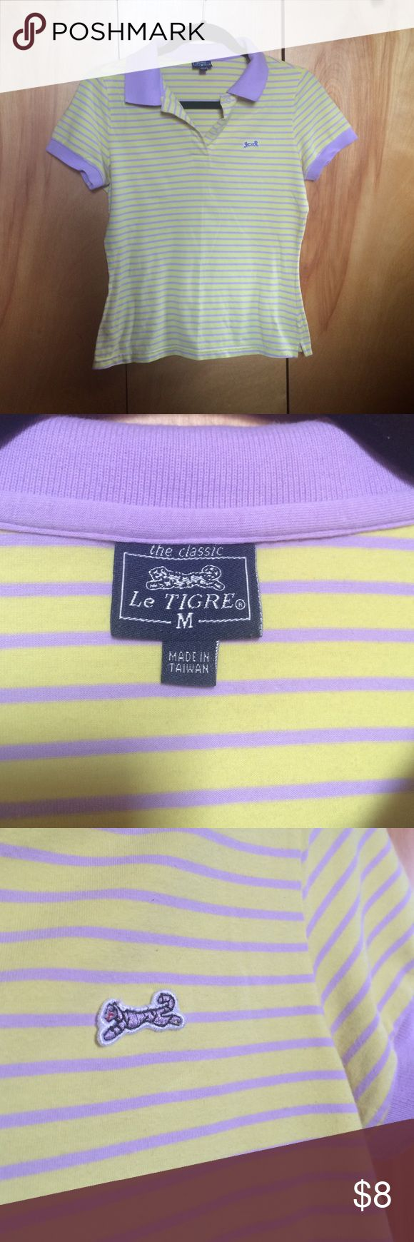Le Tigre Collared Shirt Purple and yellow striped Le Tigre shirt, size medium. Fits more like a small. Has slight pilling under armpits, but has been worn 3-4x. Soft fabric and super comfortable! Le Tigre Tops
