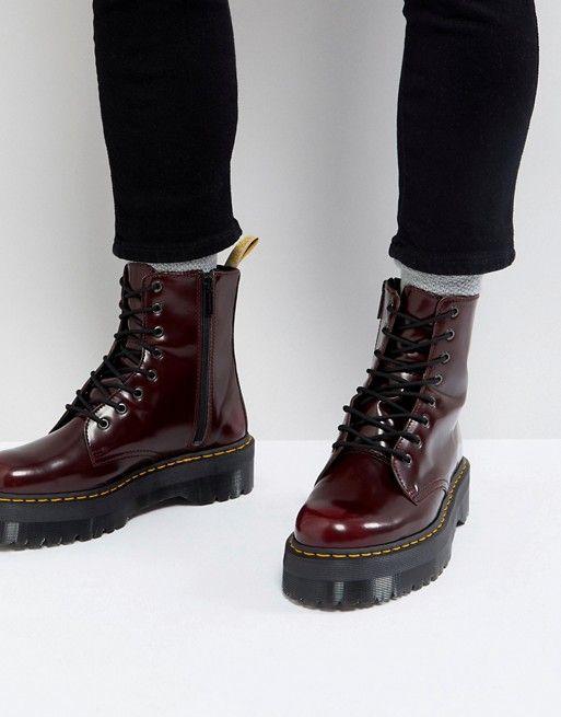 b1fe58e2ec3763 Dr Martens vegan Jadon II 8-eye platform boots in red in 2019 ...