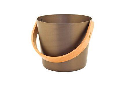 Rento saunasanko tervanruskea alumiinia ja bambua, 5 l