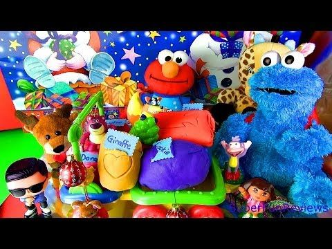 Surprise Eggs for Cookie Monster Elmo Lotso Dora Boots Swiper Giraffe and Psy FUN ending Play-doh