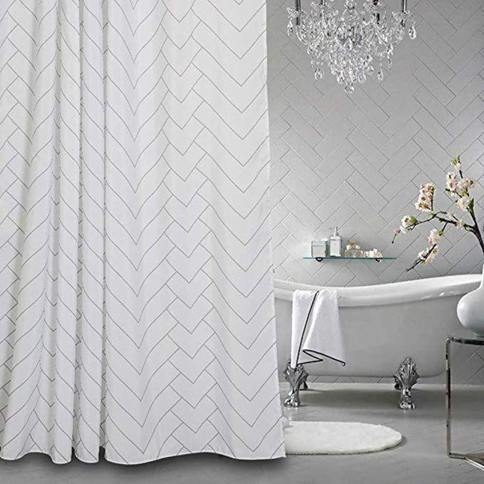 Amazon Com Aimjerry Hotel Quality White Striped Fabric Shower