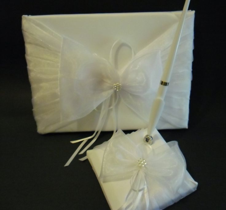 Guest Book and Pen Set - Large Organza Bow