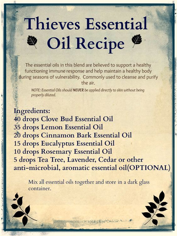 Make your own THIEVES Essential Oil Blend! Find all the essential oils for this recipe at www.patchouligarden.com