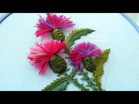 EMBROIDERY: THISTLE FLOWERS / ВЫШИВКА: ЦВЕТЫ ЧЕРТОПОЛОХА - YouTube