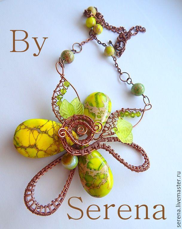 """Купить Колье """"Limegreen""""с варисцитом - салатовый, желто-салатовый, варисцит, колье медное, ожерелье из меди"""