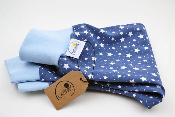 Pumphose aus Bio-Baumwolle, für Kinder und Babys, Interlock, Jersey, modisch, Sterne weiß, Hose blau hellblau, mit Bündchen, Mädchen, Junge