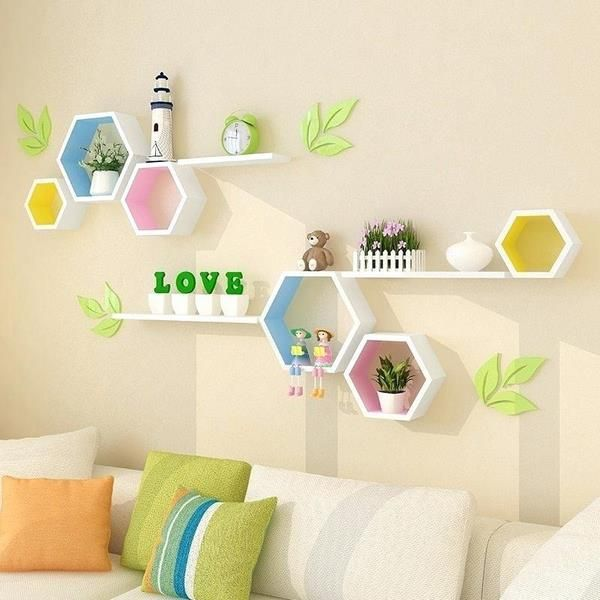 Wall Decor Ideas Colored Hexagon Shelf Storage Space Tips Kids Bedroom Design Furniture Wa In 2020 Kids Room Wall Decor Kids Bedroom Designs Kids Bedroom Decor