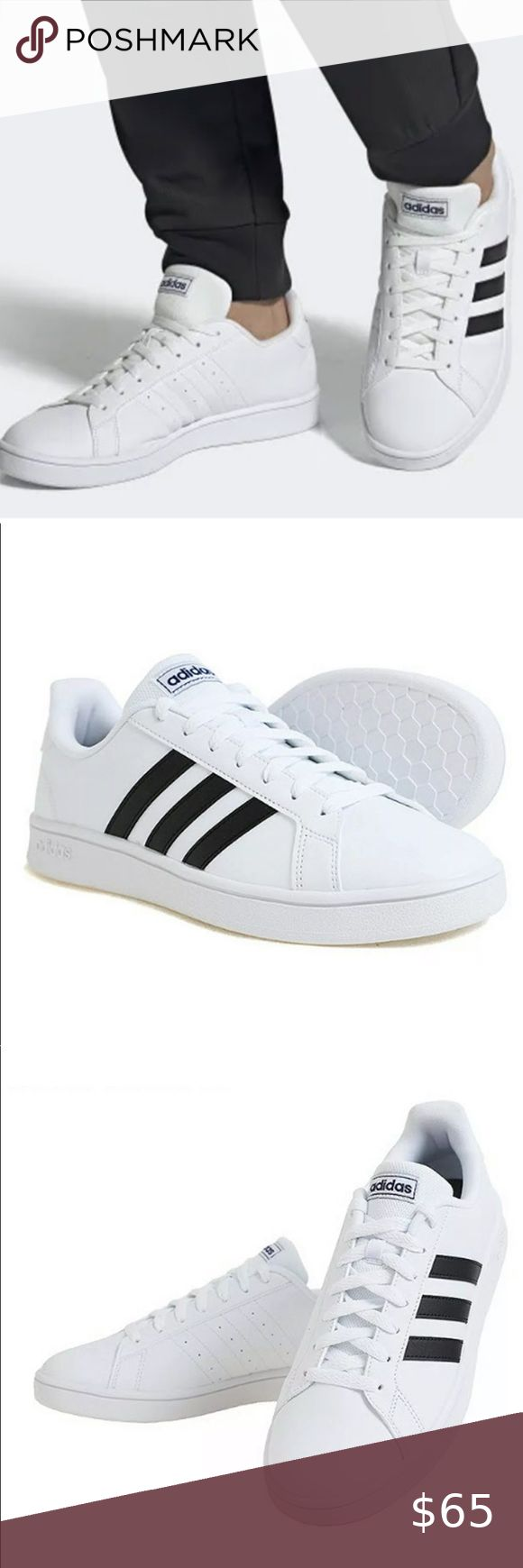 Adidas Men Grand Court Base Shoes White Sneakers Adidas Men Grand Court Base Shoes Running White Sneakers Cas In 2020 Shoes Sneakers Adidas Adidas Men Casual Sneakers