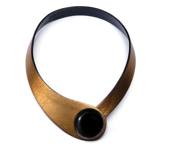 Gold Leather Minimalist Choker. Colorful Glazed Ceramic Button. High fashion minimalist necklace. Ceraselle. Gold strap. High fashion choker