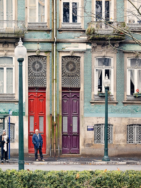 Beautiful architecture and colorful doors in the Praca do Marques de Pombal, Porto.   http://www.travelandtransitions.com/destinations/destination-advice/europe/