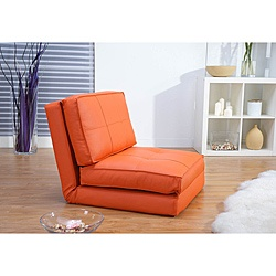 @Overstock - With a comfort-oriented design, this convertible chair bed is multifunctional and takes full advantage of any available space. The contemporary seating can be used as a chair or as a bed for overnight guests.http://www.overstock.com/Home-Garden/Baltimore-Orange-Faux-Leather-Convertible-Chair-Bed/6434030/product.html?CID=214117 $313.99
