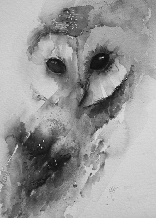 Watercolor tattoo of a barn owl