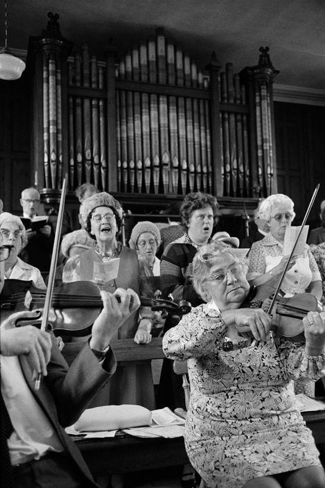 Martin Parr GB. England. West Yorkshire. Calderdale. Keighley. Marsh Methodist Chapel. Both this chapel and Hawksbridge Baptist Chapel still have an orchestra for Anniversary. 1975-1980.