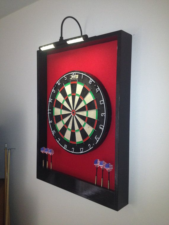 LIGHTED Red & Black Trim Dart Board Backboard/Surround Dartboard Cabinet  w/ DMI Staple-Free Sisal Board- For Game Room, Man Cave Gift Idea