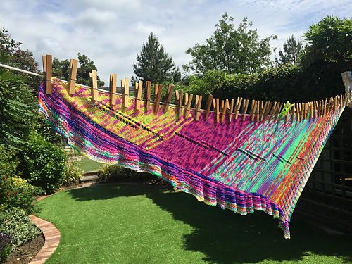 "This is another version of my Dare Yourself pattern for an absolutely colorful shawl! This one was knitted by ""charlie17"" (Ravelry ID) and it is absolutely stunning!"