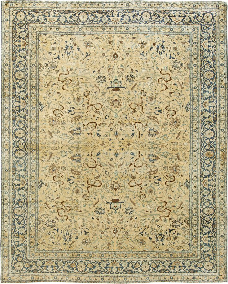 Antique Persian Tabriz Rug Living Room