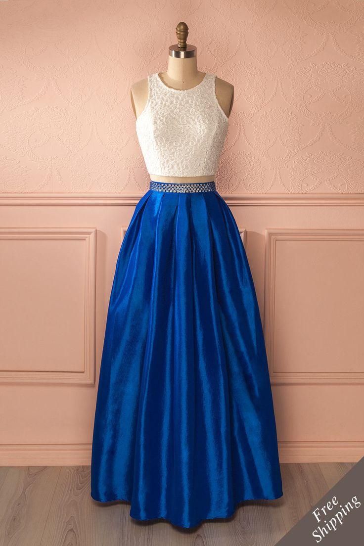Tham Saphir - White lace top blue skirt maxi dress