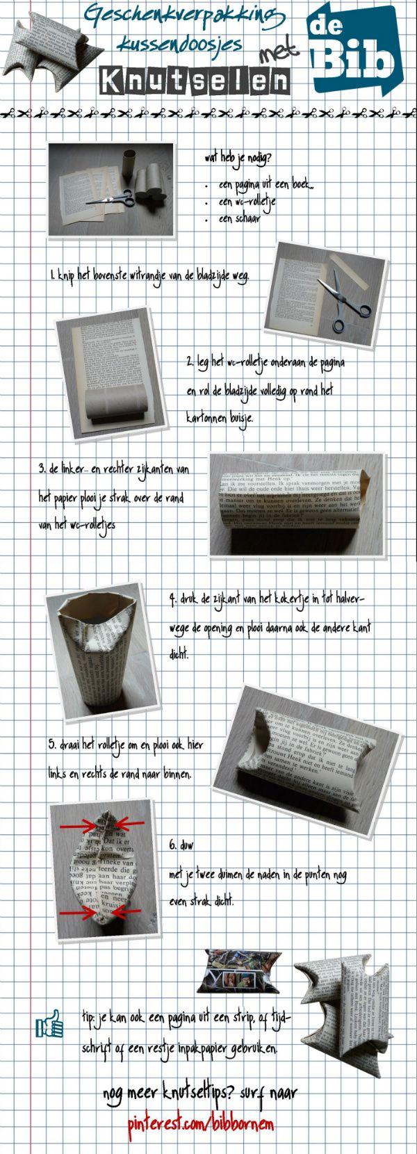 Geschenkverpakking - een kussendoosje om kleine cadeautjes of geld in te pakken