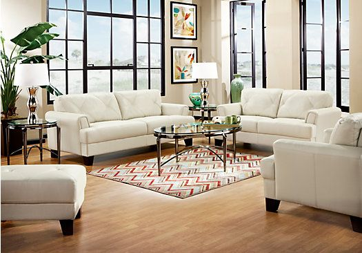 Shop for a cindy crawford home eden place smoke leather 5 for Cindy crawford living room furniture