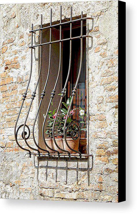 Ornate Window Grill Canvas Print featuring the photograph Ornate Window Grill Cetona by Dorothy Berry-Lound #windowdecor #italy #cetona