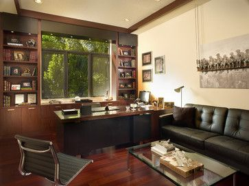 Clean lines, leather sofa with a glass table Adelson - contemporary - home office - detroit - Jeffrey King Interiors
